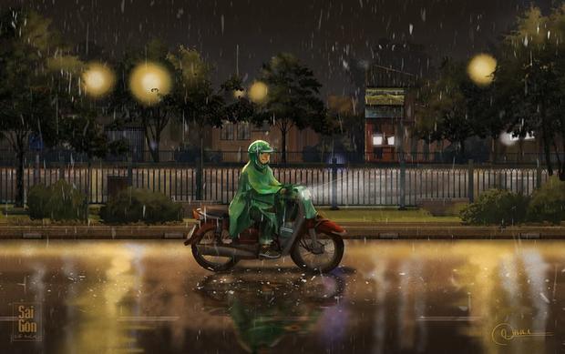 Trong màn mưa là những chuyến đi mưu sinh không ngừng nghỉ.