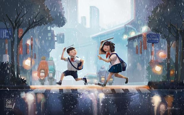 Là khi tiếng dòng xe tấp nập xen kẽ với tiếng mưa đầu mùa vào giờ tan trường, cứ thế mưa và người cứ hoà vào nhau.