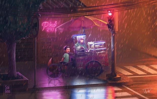 Những xe hàng rong đầm đìa mưa phố, tiếng gõ lóc cóc quen thuộc, hay những tiếng rao phát ra rè rè từ những cái loa cũ.