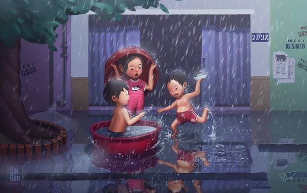 Mỗi lần nhìn thấy mưa là quay lại cả một bầu trời tuổi thơ, là những lúc chạy tung tăng ngoài con hẻm phủ mưa trắng xoá.