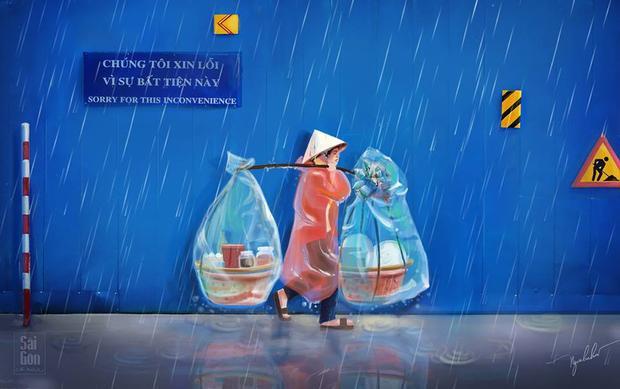 Đâu đó giữa cơn mưa Sài Gòn tiếng rao vẫn vang lên và bàn chân không ngừng bước.