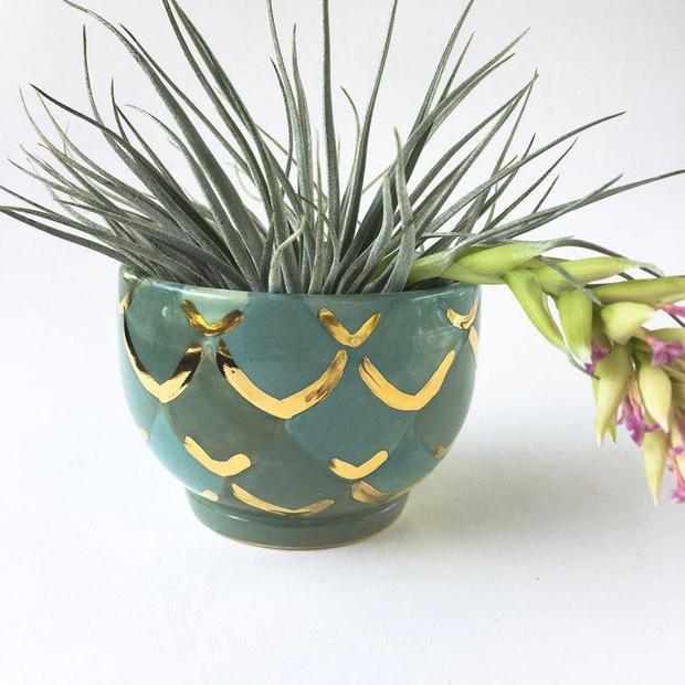Ngay đến cả chiếc chậu cây nhỏ xinh cũng được thiết kế trên những cái vảy tinh tế.