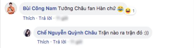 Phía dưới bình luận, Bùi Công Nam trêu học Quỳnh Châu khi nghĩ cô là fan của đội tuyển Hàn Quốc.