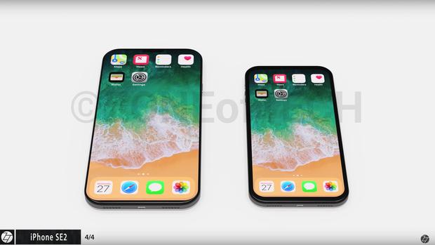 """Đây là concept iPhone do Zone of Tech thực hiện. Có thể thấy, so với thiết bị thực tế, những chiếc iPhone này có phần """"tai thỏ"""" nhỏ hơn rất nhiều."""