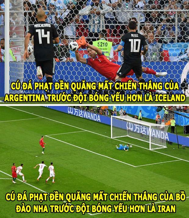 Ngay cả đá hỏng phạt đền Ronaldo cũng muốn tranh với Messi.