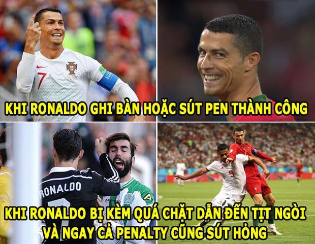 Ronaldo bị mỉa mai vì có hành vi đánh nguội với cầu thủ Iran.