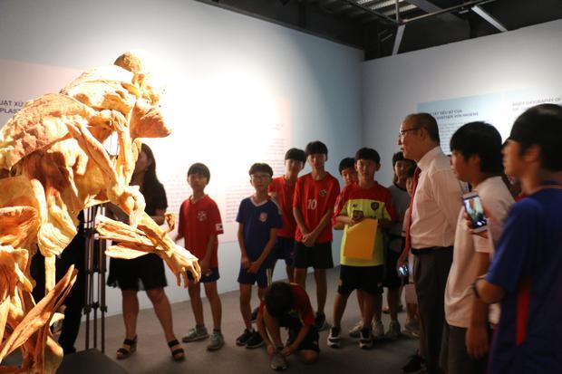 """Thầy Park Hang Seo cùng các bạn nhỏ yêu thích bóng đá đến từ Hàn Quốc hào hứng khám phá triển lãm """"Sự bí ẩn đặc biệt của cơ thể người""""."""