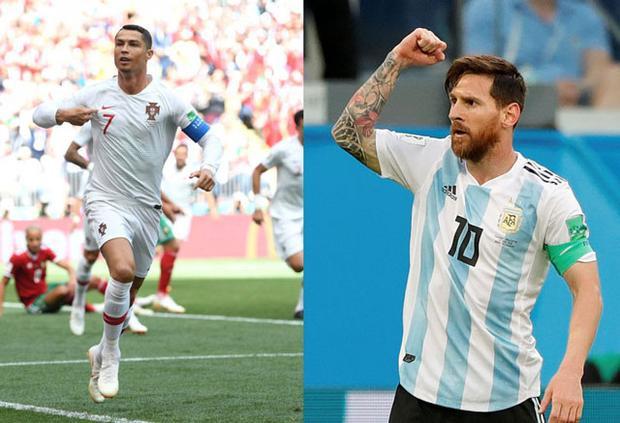 Ronaldo (trái) và Messi sẽ chạm trán nhau ở vòng tứ kết? Ảnh: Getty.