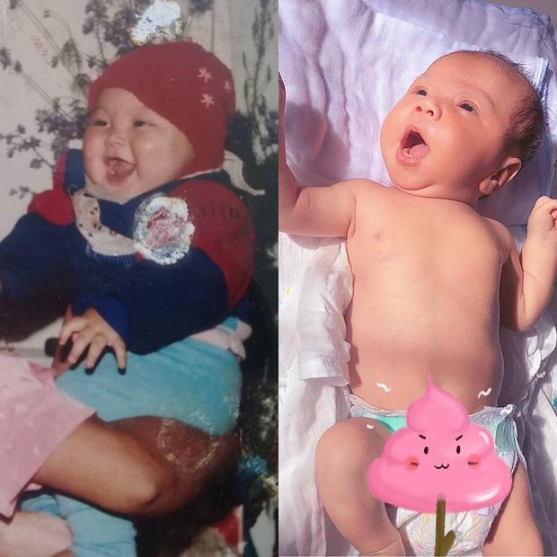 Jay Quân nhờ cư dân mạng chấm điểm hình ảnh bé Joyce và mình lúc 5 tháng tuổi xem ai đẹp trai hơn. Anh cũng gửi một bức tâm thư dài cho con trai bày tỏ niềm hạnh phúc khi được lên chức bố.