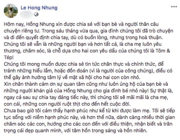 Dòng thông báo chính thức của Hồng Nhung về chuyện chia tay ông xã sau nhiều năm chung sống trên trang cá nhân.