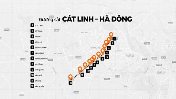 Lộ trình dự án Cát Linh - Hà Đông. Đồ họa: Hữu Nhân.