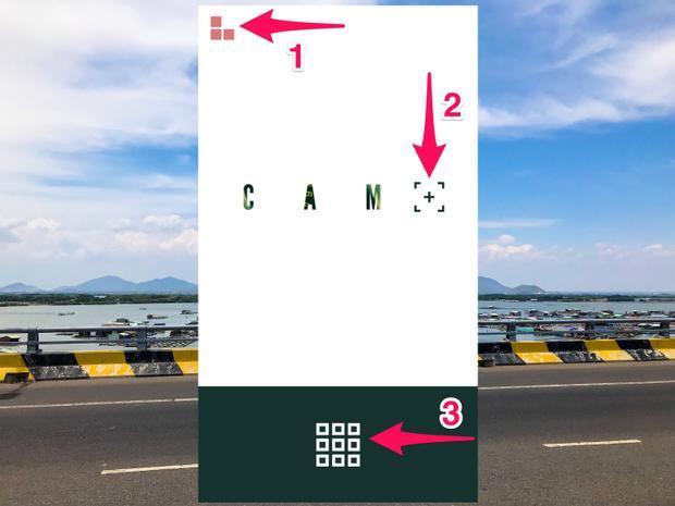 Sau khi hoàn tất việc hiển thị những thao tác cơ bản, ứng dụng sẽ hiện lên giao diện chính với 3 lựa chọn gồm: 1. Mở rộng, 2. Chụp ảnh ngay trong ứng dụng, 3. Chỉnh sửa ảnh có sẵn từ thư viện.