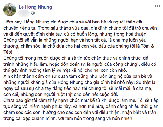 Dòng trạng thái thông báo kết thúc cuộc hôn nhân của Hồng Nhung.