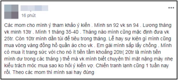 Bài viết được anh chồng T.N chia sẻ trên mạng xã hội.