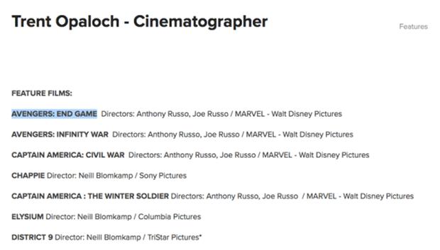 """Thông tin tựa phim của """"Avengers 4"""" bị rò rỉ từ chính trang web của Trent Opaloch."""