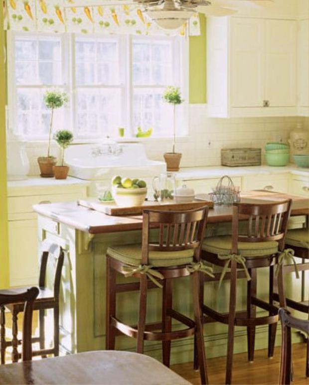 Màu cỏ xanh nhẹ nhàng cho căn bếp vừa hiện đại, vừa cổ điển.