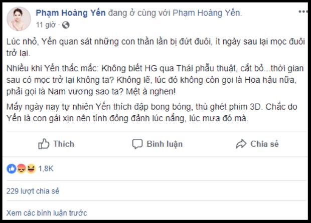 Sau hàng loạt status miệt thị Hương Giang….