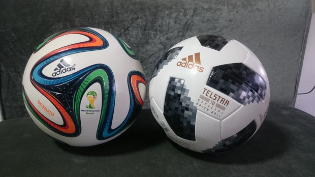 Trái Brazuca (World Cup 2014 - Brazil) và Telstar 18 (World Cup 2018 - Nga).