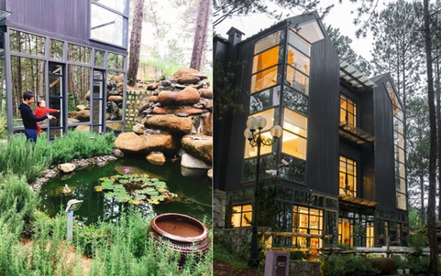 Căn biệt thự này được xây dựng trên một đồi thông, có khu vườn nhỏ và thiết kế chủ đạo bằng gỗ. Mỗi vật dụng, chi tiết trong ngôi nhà đều được đại gia Đức An đầu tư thực hiện. Rất nhiều vật dụng được đại gia này đặt hàng từ châu Âu.