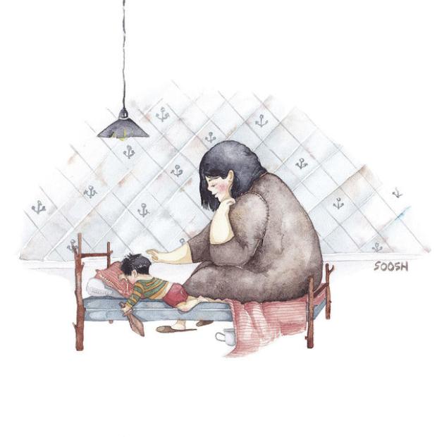 Mẹ chỉ có thể an lòng khi thấy con ngủ say, yên bình trong vòng tay mẹ