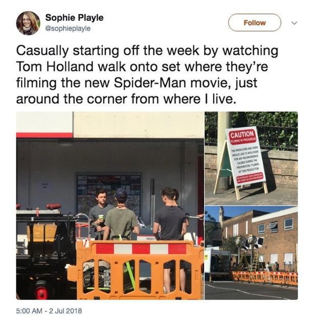 """""""Bắt đầu một tuần mới bằng cách xem Tom Hollandquay bộ phim phầnSpider-Man mới, ngay gần nơi tôi sống"""" - Sophie Playle viết."""