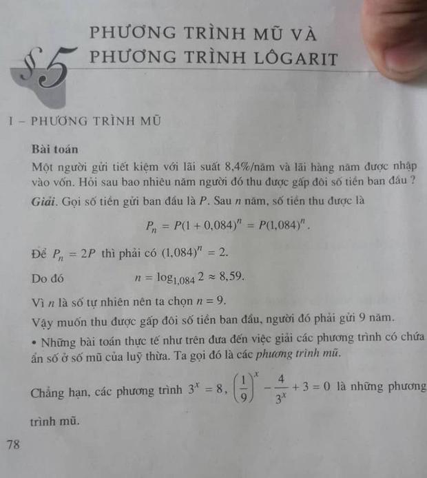 Bài toán ở trang 78 SGK Giải tích 12 mà Bộ GD-ĐT lấy làm cơ sở cho câu hỏi số 16 mã đề 109. Ảnh: Nguyễn Thảo