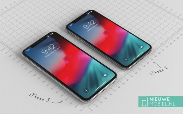 iPhone 9 (2018) đặt cạnh iPhone X (2017).