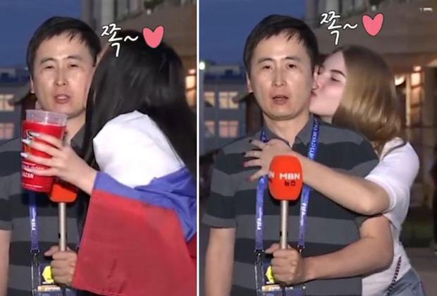 Phóng viên Hàn Quốc bị người đẹp cưỡng hôn.