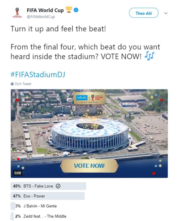Đây là cập nhật của Saostar vào chiều nay, Fake Love của BTS đứng đầu với 48% phiếu bầu.