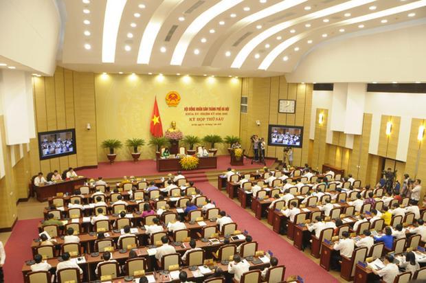 Quang cảnh kỳ họp thứ 6 HĐND TP khóa XV, HĐND TP.Hà Nội. Ảnh: Thành An