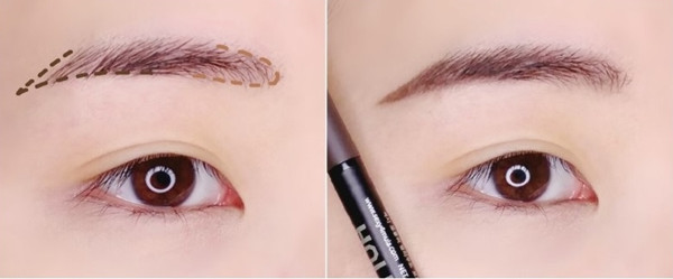 Bước đầu tiên khi bạn muốn make up như Ara là phải dùng chì màu nâu để kẻ lông mày.