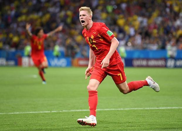 De Bruyne ăn mừng bàn thắng thứ 2 cho Bỉ. Ảnh: FIFA