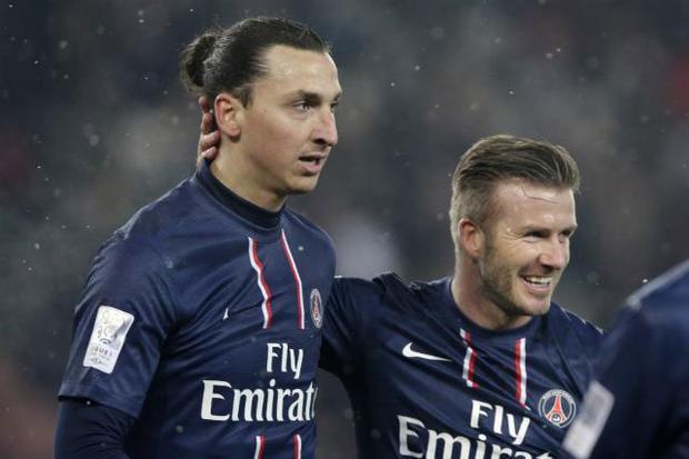 Ibrahimovic và Beckham (phải) khi còn sát cánh trong màu áo PSG.