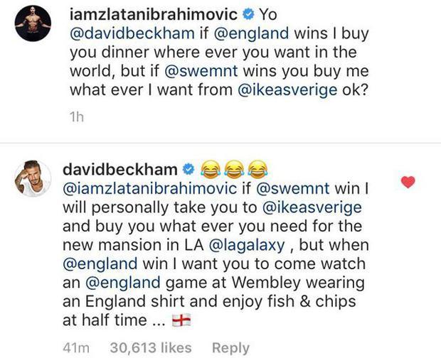 Ibrahimovic và Beckham cá cược trên mạng xã hội.