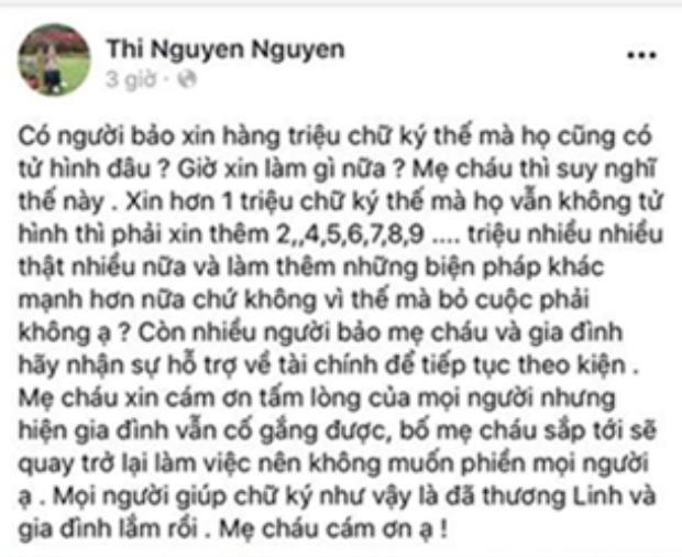 Từ chia sẻ này, có thể thấy gia đình của nạn nhân vẫn không ngừng nỗ lực để đòi lại công bằng cho cháu Nhật Linh.