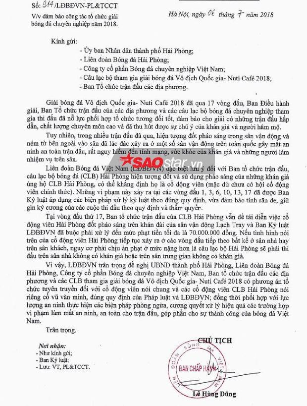Công văn VFF gửi lãnh đạo TP Hải Phòng vào ngày 6/7.