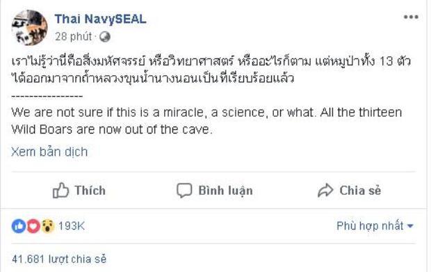 Giải cứu thành công 13 thầy trò đội bóng Thái Lan  khi phép màu thành hiện thực