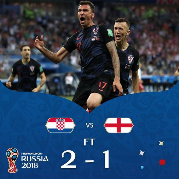 Croatia đã làm nên kỳ tích sau chiến thắng 2-1 trước Anh. Ảnh: FIFA