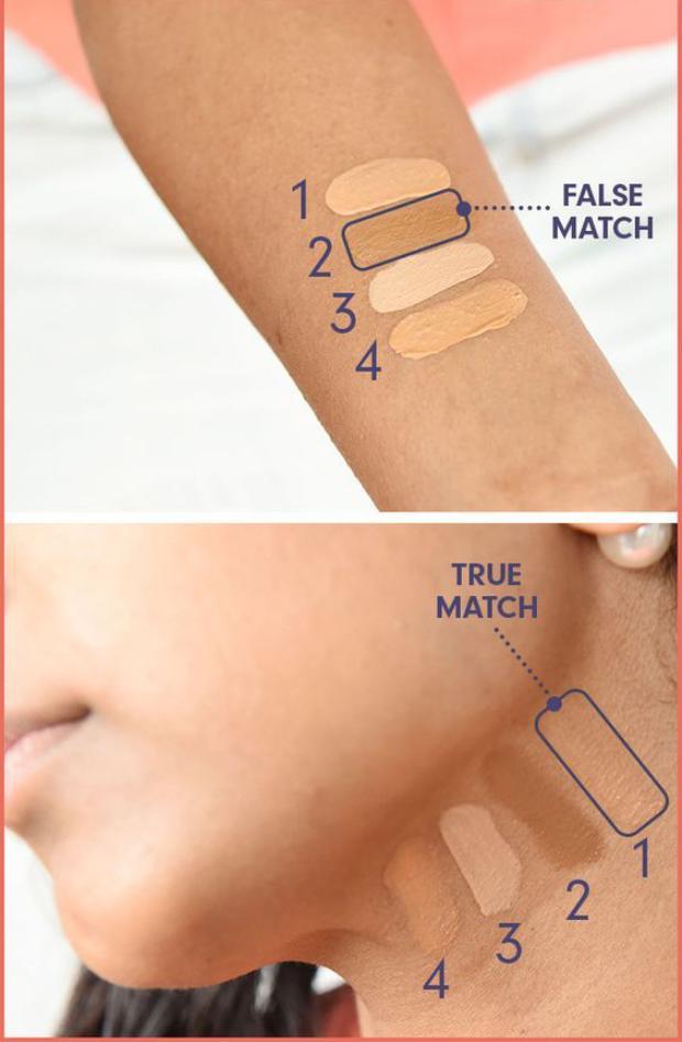Hãy thử test kem nền trên tay hoặc vùng da dưới cổ để có lựa chọn chính xác nhất
