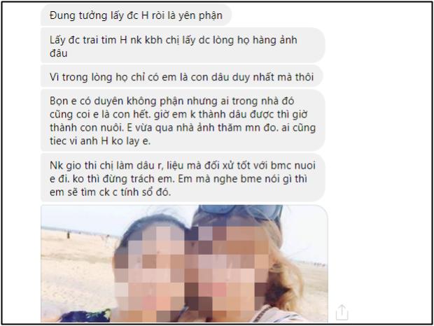 Đoạn tin nhắn và hình ảnh chụp chung với người nhà anh chàng được người yêu cũ gửi cho vợ