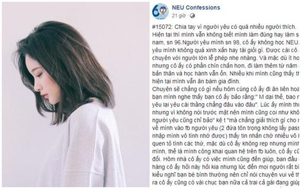 Câu chuyện chia tay người yêu vì có quá nhiều người thích đang là chủ đề gây xôn xao trên NEU Confession.