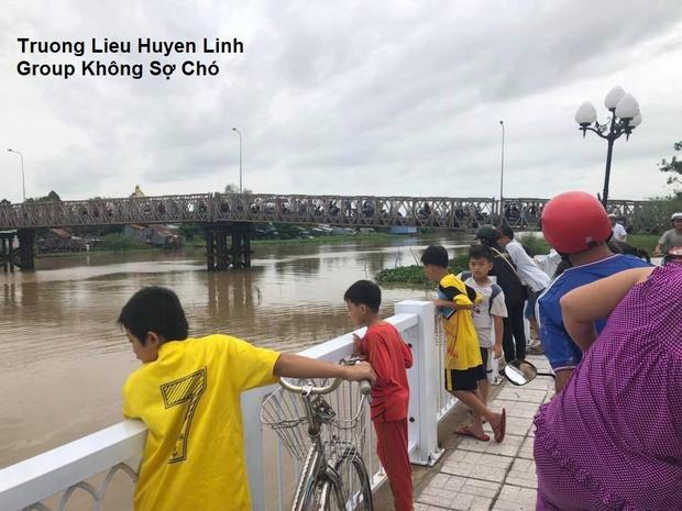 Nhiều người tò mò đứng trên cầu nhìn theo con cá sấu.