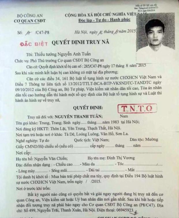 Quyết định truy nã Tuân. Ảnh: Dân Việt.