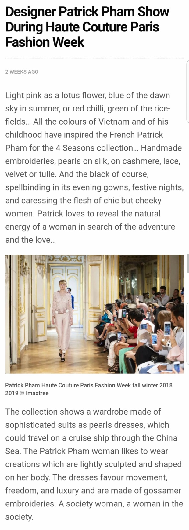 """Tạp chí FabUKmagazine của Anh gọi đây là """"tủ áo mà mọi phụ nữ có thể nghĩ đến sẽ mang theo trên 1 chuyến du thuyền dạo quanh biển Đông"""", """"lấy nguồn cảm hứng từ quê hương Việt Nam xinh đẹp trong ký ức tuổi thơ."""""""