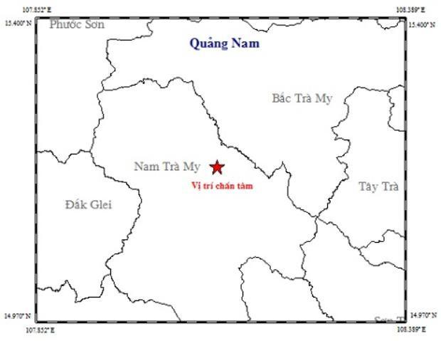 Vị trí tâm chấn động đất tại huyện Nam Trà My, Quảng Nam.
