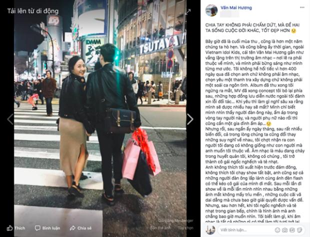 Dòng trạng thái gây xúc động của Văn Mai Hương, không ít người tiếc nuối cho mối tình đẹp đã trở thành quá khứ.