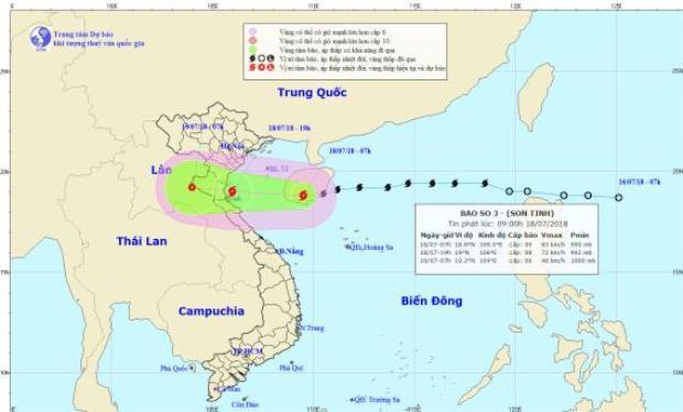 Đường đi và vị trí của cơn bão số 3. Ảnh:Trung tâm Dự báo Khí tượng Thủy văn Quốc gia.