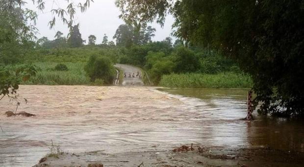 Cầu tràn ở Nghệ An bị ngập chia cắt giao thông.