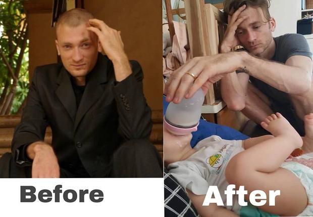 Cười té ghế với chùm ảnh trước và sau khi có con của Phương Vy và chồng Tây