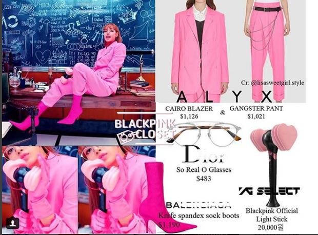 Áo blazer của Lisa trị giá 26 triệu VNĐ, quần 23 triệu, giày 27 triệu, và đừng quên chiếc kính tận 11 triệu VNĐ.